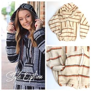 Authentic Mexico Made Cotton Poncho Zip Hoodie L